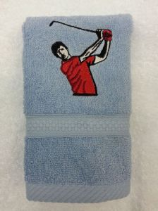 GOLFER RED TOP PERSONALISED FACE CLOTH
